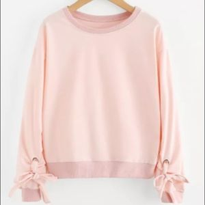 Open Shoulder sweatshirt with bow sleeves